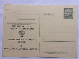 GERMANY 1960 Pre-paid Postcard 8pf Grey British Legion -Dusseldorf & Nord Rhein-Wesfalen Branch - BRD