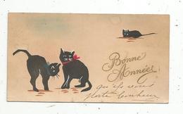 Mignonnette, NOUVEL AN ,  BONNE ANNEE ,  Chats Noirs ,2 Scans ,  1924 - Año Nuevo