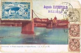 33159. Postal BEZIERS (Herault) 1913. Label, Vignette Exposition Internationalle PARIS - Francia