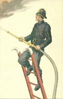 Pompiere Su Scala Con Lancia, Riproduzione A14, Reproduction - Pompieri