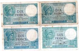 1 Lot De 4 Billets 10 Franos - 1871-1952 Anciens Francs Circulés Au XXème