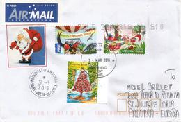 Lettre De Christmas Island, Traditions Locales à Noel, Adressée Andorra, Avec Timbre à Date Arrivée - Christmas Island