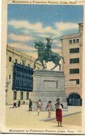 MONUMENTO A FRANCISCO PIZARRO, LIMA, PERU. POSTAL CPA CIRCULATED 1958 -LILHU - Perú