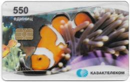 Kazakhstan - Kazakhtelecom - Tropical Clown Fish (Transparent Card), 2004, Axalto AX03, 550Units, Used - Kazachstan