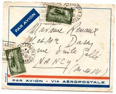 Lettre Par Avion De Casablanca Daguin Maroc Climat (25.7.1930) Pour Nancy - Maroc (1891-1956)