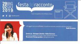 Segnalibro CARPI FESTA DEL RACCONTO 2019 - GIUSEPPE CULICCHIA E NADIA TERRANOVA Ricostruire Il Tempo Perduto - Segnalibri