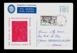 ANDORRA ANDORRE Viguerie Episcopale Entier Nadal 1980 Voyagé Au Tarif 1,40F Oblit. ENCAMP 1-6-1981 Europa SUPERBE - Timbres