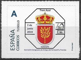 ESPAÑA. TUSELLO. TREN AZUL. NONASPE (ZARAGOZA) - 1931-Hoy: 2ª República - ... Juan Carlos I