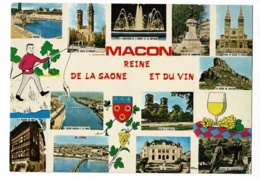 Macon Reine De La Saône Et Du Vin - Multivues, 12 Vues & Illustrations, Blason - Circulé Sans Date, Sous Enveloppe - Macon