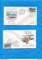 POLYNESIE Française -lot De Enveloppe FD C 1967 Fêtes Du 11 Juillet -stamp N°48à 51sports -javelot-course Pirogues Etc.. - French Polynesia