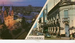 CONCORDIA, ENTRE RIOS. CATEDRAL NOCTURNA Y CALLE. ARGENTINA POSTAL POSTALE CIRCA 1960's NON CIRCULE -LILHU - Argentina