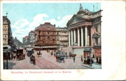 Belgium Brussells Le Boulevard Anspach Et La Bourse - Public Transport (surface)