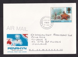 Penrhyn: FDC First Day Cover To Netherlands, 1997, 1 Stamp, Starfish, Sea Star, Underwater Life, $8 (traces Of Use) - Penrhyn