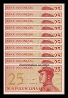 Indonesia Lot Bundle 10 Banknotes 25 Sen 1964 Pick 93 SC UNC - Indonesia