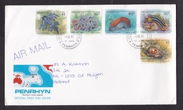 Penrhyn: FDC First Day Cover To Netherlands, 1993, 5 Stamps, Shell, Coral, Sea Cucumber, Underwater Life (minor Creases) - Penrhyn