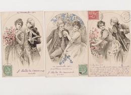 8 Jolies Cartes Fantaisie Dont 7 Envoyées En 1902 Par J.Sarda De Caumont / Couple , Fleurs - Couples