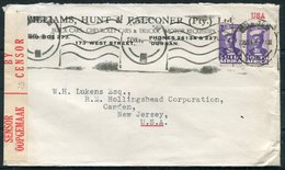 1944 South Africa Durban Censor Cover - Camden, New Jersey USA.Williams Hunt & Falconer Ltd, Buick Chevrolet Autos Cars - África Del Sur (...-1961)