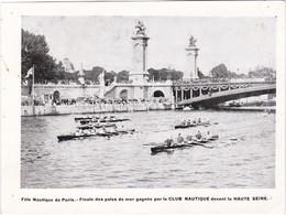 Fête Nautique De Paris - Finale Des Yoles De Mer Gagnée Par Le CLUB NAUTIQUE Devant La HAUTE SEINE - 19 X 14 Cm - Rowing