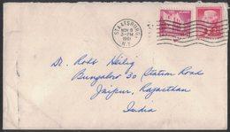 RB35   USA 1961  Letter Staatsburg To Jaipur India Franked 9c The Alamo + 2c Jefferson - Stati Uniti