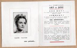 Vieux Papiers > Programmes Elmire Vautier Art Et Joie Monsieur LAMBERTHIER - Programs