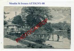 ATTIGNY-Moulin St. Irenee-Canal-Peniche-CARTE Allemande-GUERRE 14-18-1WK-France-08- - Attigny
