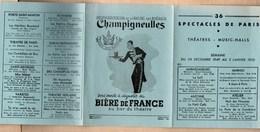 Vieux Papiers > Programmes Champigneulles Biere De France 36 Spectacles De Paris - Programs