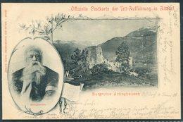 1900 Switzerland Offizielle Postkarte Der Tell-Aufführung In Altdorf. Ruine ATTINGHAUSEN - 1882-1906 Coat Of Arms, Standing Helvetia & UPU