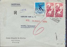 Spain BANCO ESPANOL DE CREDITO Registered Certificado MURCIA 1965 Cover Olympic Skiing World Exhibition New York Dancer - 1931-Heute: 2. Rep. - ... Juan Carlos I