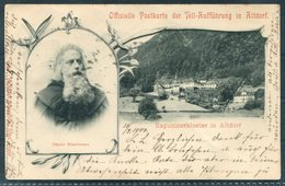 1900 Switzerland Offizielle Postkarte Der Tell-Aufführung In Altdorf. Luzern - Bregenz - 1882-1906 Coat Of Arms, Standing Helvetia & UPU
