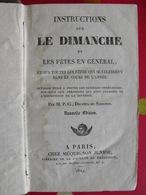 Instructions Sur Le Dimanche Et Les Fêtes En Général. Méquignon Junior, Paris, 1829 - Livres, BD, Revues
