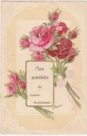 Cpa COURT ST ETIENNE COURT SAINT ETIENNE Belgique Gaufrée Fleur Rose Fantaisie 2 Scans Postcard Carte Postale Ancienne - Belgique