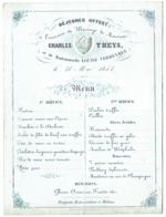 Menu Porcelaine. Déjeuner Mariage Theys/Verheyden. 1854. Fraipont, Restaurateur à Malines. - Menu