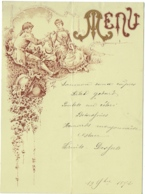 Menu. Illustrateur E.Orot. 1892. - Menus