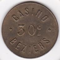 34. Hérault. Casino De Béziers. 30 Centimes, En Laiton - Casino
