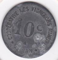 34. Hérault. Siran. Coopérative Les Vignerons Minervois . 10 Centimes, En Zinc - Monétaires / De Nécessité