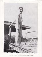 TALLON, Vainqueur De La Traversée De Paris à La Nage - 19 X 14 Cm - Swimming
