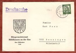 Illustrierter Umschlag Wappen, Drucksache, Duerer, Muehlhausen Enz Nach Renningen 1963 (75262) - Briefe U. Dokumente
