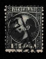 1867 Koning Willem III 20 Ct.  Type II  NVPH 10 Tanding A (12,75x11,75) - Usados
