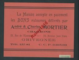 Publicité Sur Carton.Vente Charbon, Bons De Ristournes ... Grivegnée - Avec Timbre Fiscal 0,20. 2 Scans - Publicités