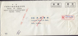 China Chine Par Avion BANK OF CHINA Registered Label PEKIN 1957 Cover Brief DEUTSCHE BANK, KÖLN Germany Arzt Soldat - 1949 - ... Volksrepublik