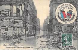 PARIS  - INONDATIONS ( Crue ) 1910 - Bld St Germain Et Rue De Lille - CPA Avec Armoiries De La Ville De Paris - Seine - Alluvioni Del 1910