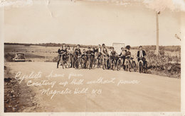 RPPC REAL PHOTO POSTCARD CYCLISTS MAGNETIC HILL - New Brunswick