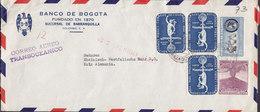 Colombia BANCO DE BOGOTA, BARRANQUILLA 1956 Cover Letra KÖLN Germany Colon Colombus Messe Exposition Volcan Vulcano - Colombia