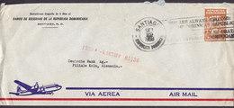 Aerea Aeroplane Cachet BANCO DE RESERVAS DE LA REPUBLICA DOMINICANA, SANTIAGO 1960 Cover Letra KÖLN Germany - Dominican Republic