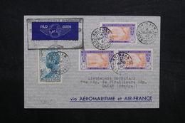 CÔTE D'IVOIRE - Enveloppe 1er Vol  Abidjan / Dakar En 1937, Affranchissement Plaisant - L 32700 - Costa De Marfil (1892-1944)