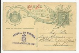 Postal Stationery - Portugal 10 Reis Arsenal Da Marinha Holed - Enteros Postales