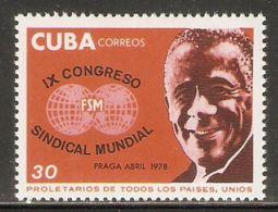 1978 Mi# 2292 ** MNH - 9th World Trade Unions Congress, Prague - Nuevos