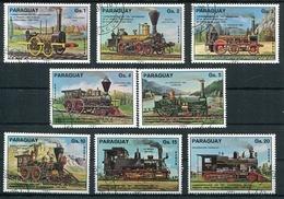 TRENES DEL PARAGUAY, TRAINS TRAIN TREN.  AÑO 1978 YVERT 1467 / 1471 COMPLETE SERIE OBLITERES  -LILHU - Trenes