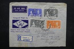 MALAISIE - Enveloppe En Recommandé De Penang Pour Singapour En 1937 , Affranchissement Plaisant - L 32714 - Straits Settlements