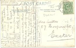 BOVINGTON CAMP WAREHAM POSTMARK - POSTALLY USED 1911 ON NOTHE WALK WEYMOUTH POSTCARD - Postmark Collection
